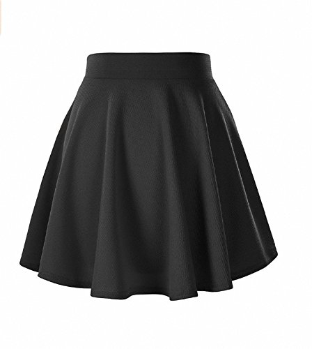 Afibi Girls Casual Mini Stretch Waist Flared Plain Pleated Skater Skirt (Medium, Black)