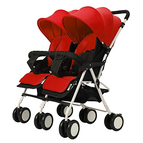 Curve Tandem Double Stroller for Infants, Toddlers or Twins – 360° Turning and Easy Handling Over Curbs, Multiple Seating Options, UPF50+ Canopies, Graphite Gray (Color : Red)