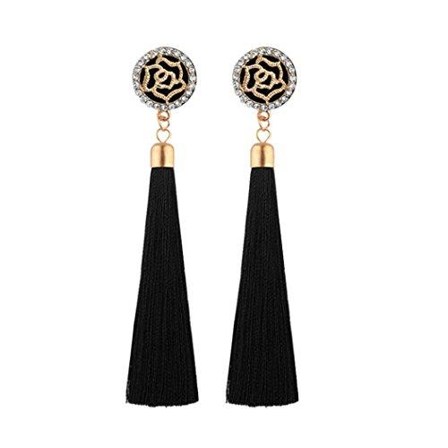 Wholesale Fashion Earrings - Quaanti Fashion Boho Bohemian Long Exaggerated Rose Flower Dangling Wholesale Crystal Fringe Tassel Stud Earrings for Women (Black)