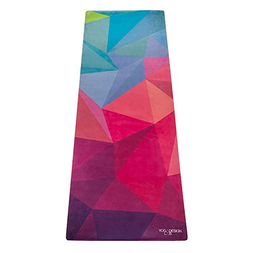 The Combo Yoga Mat 1.5mm. Luxurious, Non-slip, Foldable, Mat/Towel Designed to Grip Better w/ Sweat! Machine Washable, Eco-Friendly. Ideal for Hot Yoga, Bikram, Ashtanga, Pilates (Geo)