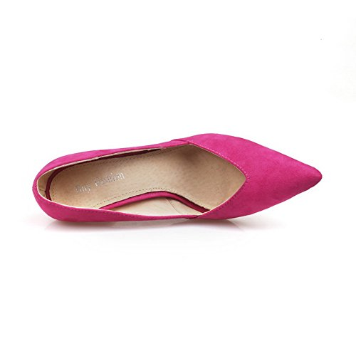 VogueZone009 Womens Closed Toe Pointed Toe Toe High Heels Suede Frosted Solid Pumps RoseRed ZhAWOM
