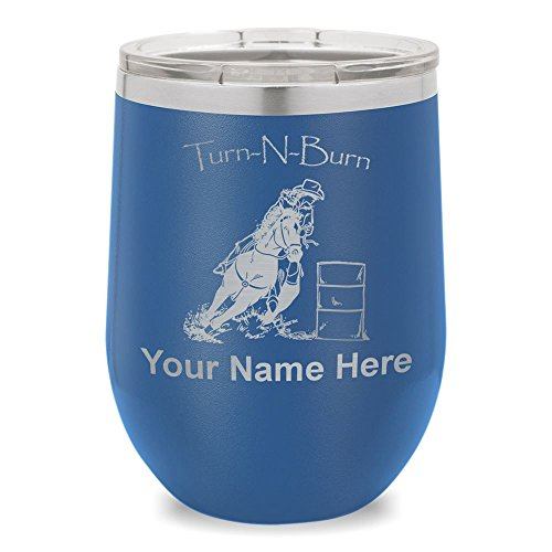Wine Glass Tumbler, Barrel Racer Turn N Burn, Personalized Engraving Included (Dark Blue) -