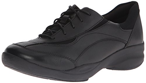 Motion Oxford - Clarks Women's In Motion Rock Oxford, Black Leather, 7.5 M US