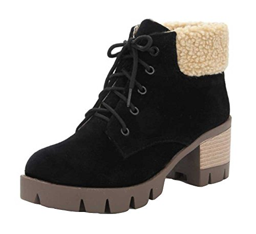 CHFSO Womens Stylish Waterproof Lace Up Faux Fur Lined Mid Chunky Heel Platform Ankle Martin Snow Boots Black 9eO4PkSFvY
