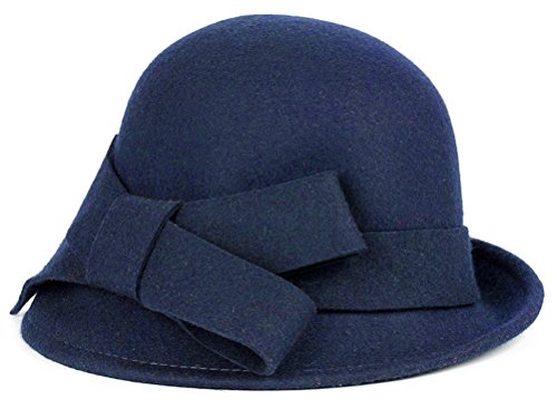 Bellady Women Solid Color Winter Hat 100% Wool Cloche Bucket with Bow Accent,Navy