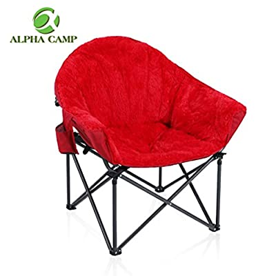 ALPHA CAMP Folding Oversized Padded Plush Moon Chair with Cup Holder and Carry Bag