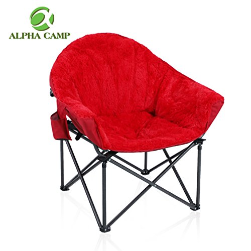 ALPHA CAMP Plush Moon Saucer Chair with Carry Bag – Supports 350 LBS, Red