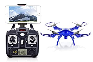 Tenergy Syma X5SW Wifi FPV RC Quadcopter Drone with Camera and Live Video, 2.4G 4CH 6 Axis Headless Altitude Hold Flying Drone for Beginners, with 2 LiPO Batteries & Extra Accessories, Blue by Tenergy