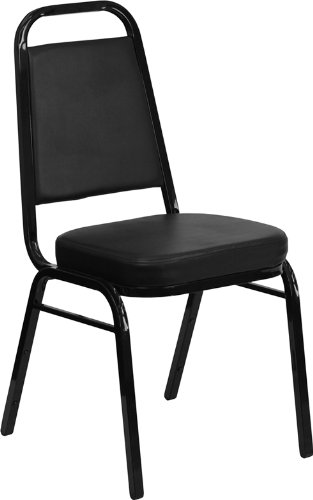 Flash Furniture HERCULES Series Trapezoidal Back Stacking Banquet Chair in Black Vinyl - Black (Back Steel Stacking Chairs)