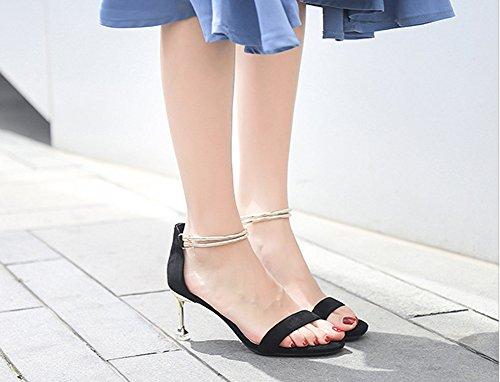 Dames Cheville Femmes Talons Noir Sandales Ouvert Talon Pour Ruiren Chaton Chaussures Hauts q6ZIwvUwnx