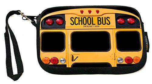 Back Of A Yellow School Bus - Neoprene Clutch Wristlet Coin Purse