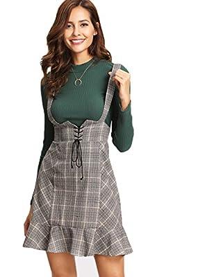MAKEMECHIC Women's Lace Up Ruffle Hem Zip A-line Plaid Suspender Skirt