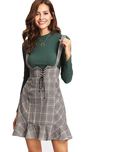 Back Skirt Zip A-line (MakeMeChic Women's Lace Up Ruffle Hem Zip A-Line Plaid Suspender Skirt Grey XS)