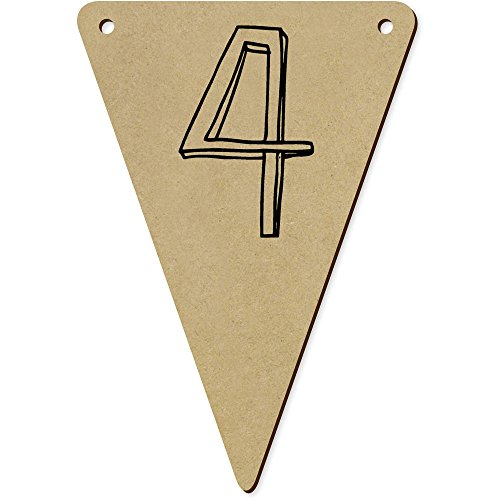 5 x 140mm 'Number Four' Wooden Bunting Flags (BN00037356)