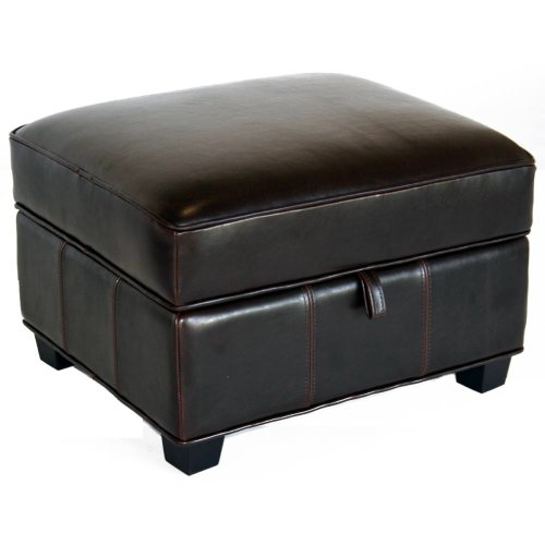 Baxton Studio Full Leather Ottoman, Espresso Brown, 25L x 22W x 17H Wholesale Interiors A-136-J001-Ottoman