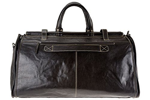 Buffalo Genuine 1 Alpenleder Leather Weekender Black Garment in Travel Women by 2 Men and Bag Cognac Duffle 840q5w1