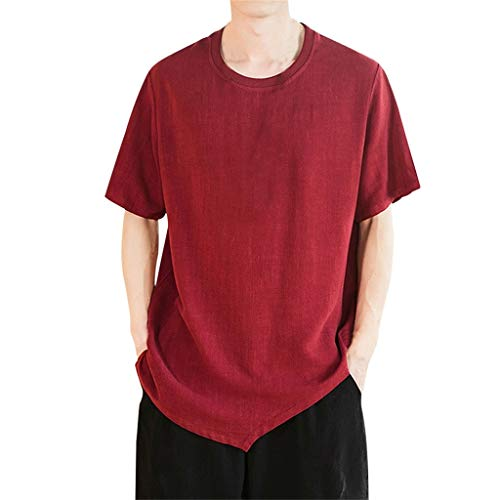 - Mens Summer T-Shirts Casual Pure Color Cotton Linen Short Sleeve Top Blouse Wine