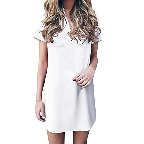 ANJUNIE T Shirt Skirt,Women's Casual V Neck Chiffon Solid Dress with Pocket Short Sleeve Mini Dresses(White,XL) -