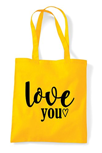 Shopper Little Tote Yellow You Love Statement Heart Bag z1fRp8wq