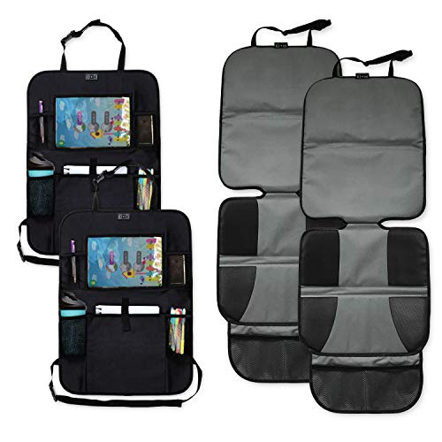 Car Seat Protector Set with Tablet Holder Kick Mat Cover (4 Pack) Thickest Padding - 2 Sets of Car Seat Protectors and Kick Mat Backseat Organizers - Kids, ()