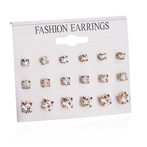 - Celendi_Jewelry Fashion Earrings Ear Ring Set Combination 9 Sets Heart-shaped Earrings