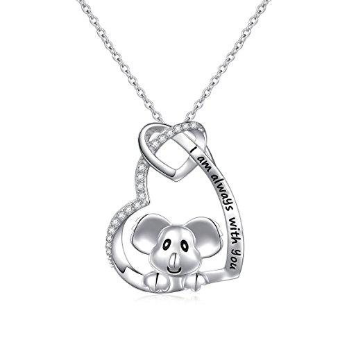 Sterling Silver Cute Panda Koala Bear Love Heart Necklace for Women Girl, 18
