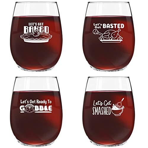 Thanksgiving Glass (Funny Thanksgiving Wine Glass Set of 4- Friendsgiving Wine Glasses- 15 oz Stemless Wine Glasses for Friendsgiving Party-Let's Get Baked, Let's Get Basted, Let's Get Smashed, Let's Get Ready to Gobble)