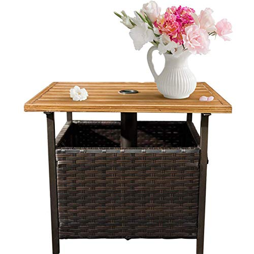 Amazon Com Sunlife Patio Square Side Table With Umbrella 1 5 Hole