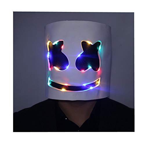 Lucky Lian LED DJ Marshmello Helmet DJ Mask Light up Neon Party Halloween Costume ()