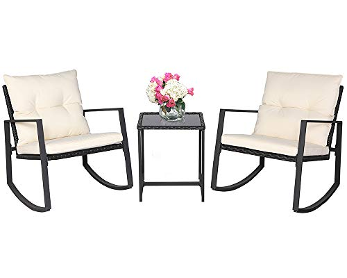 Suncrown Outdoor 3-Piece Rocking Wicker Bistro Set: Black Wicker Furniture - Two Chairs with Glass Coffee Table (Beige-White Cushion) -