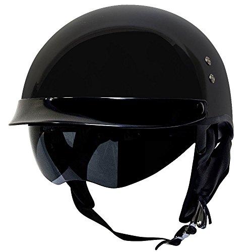 (Voss 888 FRP Hand Laid Fiberglass DOT Half Helmet with Retractable Shield for Cruiser Street Bike Men and Women - L - Gloss Black)