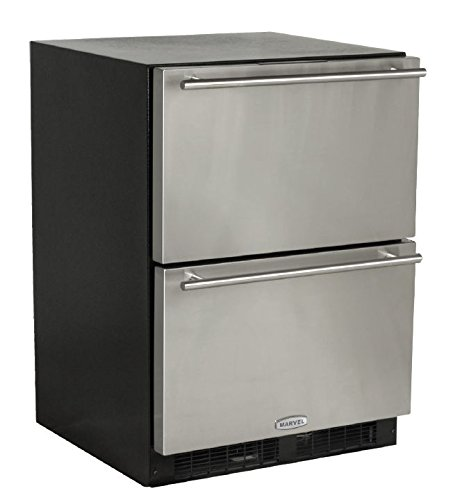 - Marvel ML24RDS2NS Under Counter Refrigerated Drawers Black Cabinet, 24