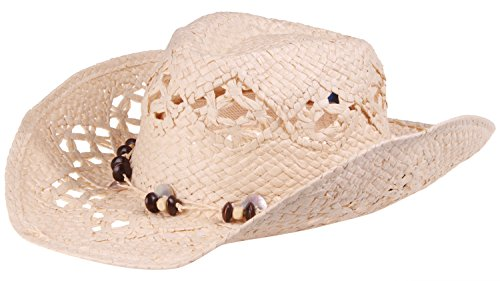(Enimay Men's Womens's Western Outback Straw Canvas Outdoor Cowboy Hat Beaded Natural One Size)