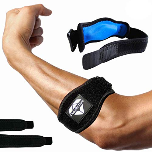 Tennis Elbow Brace (2+2 Pack) for Tendonitis - Best Tennis & Golfer's Elbow Strap Band with Compression Pad - Relieves Forearm Pain - Includes Two Elbow Support Braces, Two Extra Straps & E-Guide