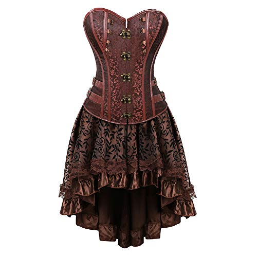 Grebrafan Jacquard Faux Leather Studded Corset with Fluffy Pleated Layered Tutu Skirt (US(12-14) 2XL, Brown)