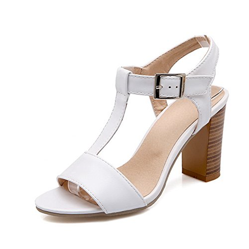AllhqFashion Women's Open Toe High Heels Buckle Solid Heeled-Sandals White