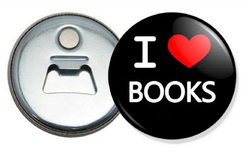 Price comparison product image I Love books button bottle opener and fridge magnet