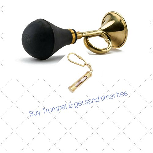 BRASS TAXI HORN 8'' VINTAGE ANTIQUE TRUMPET OLD CAR CLOWN BULB AIRHORN + FREE SAND TIMER