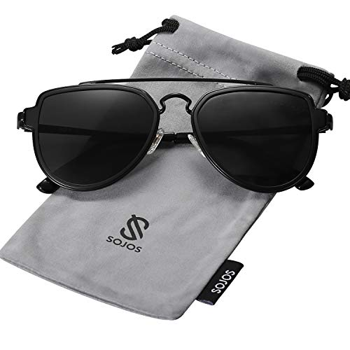 SOJOS Fashion Polarized Aviator Sunglasses for Men Women Mirrored Lens SJ1051 with Black Frame/Grey Polarized Lens (Flip Metal Team Head)