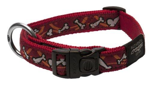 "Rogz Fancy Dress Large 3/4"" Beach Bum Side-Release Fashion Dog Collar, Bones on Red Design"