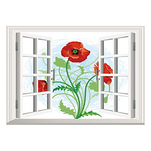 SCOCICI Removable Wall Sticker/Wall Mural/Floral,Poppy Flowers Bouquet Meadow Beauty Rural Petal of Fragrance Image,Scarlet Fern Green Pale Blue/Wall Sticker Mural
