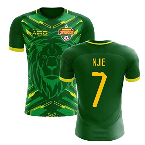 (Airosportswear 2018-2019 Cameroon Home Concept Football Soccer T-Shirt Jersey (Clinton Njie 7))
