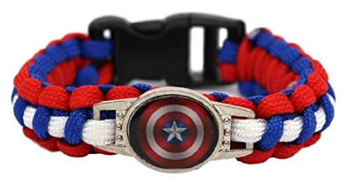 New Horizons Production Marvel's Super Heroes Glass Domed Braided Leather Bracelet (Captain -