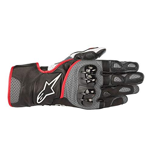 - Alpinestars SP-2 v2 Leather Motorcycle Riding Glove (L, Black Gray Red Fluo)