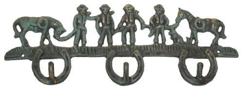 (Cowboys Statue Wall Hooks Heavy Duty Hanging Mounted Decorative Horse Rope Horseshoe Sculpture Coats Hat Keys Iron Holder Indoor Outdoor Western Accent)