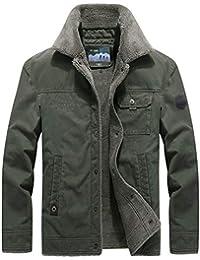 Pandapang Men Winter Faux Fur Hood Pure Color Outdoors Fleece Lined Parkas Jacket