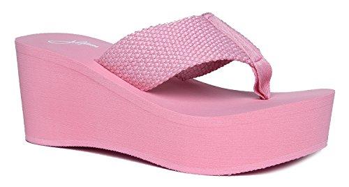 J. Adams High Platform Foam Sandal - Trendy Wedge Flip Flop - Comfortable Everyday Thong Heel - Wave