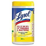 """Lysol Disinfecting Cleaning Wipe, 8"""" x 7"""", White 80 per Each"""