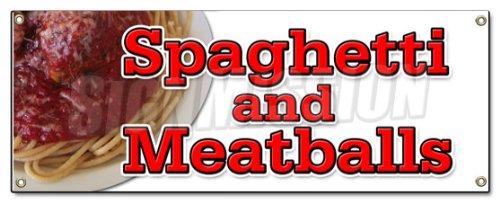 (Spaghetti and Meatballs Banner Sign Italian cucina Food Pasta Meatballs)