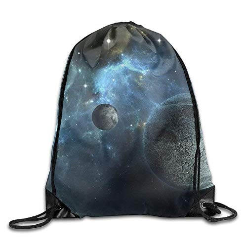 Drawstring Bags Gym Bag Travel Backpack Planets Space Cute Gym Backpack for Teen Kids 16.9x14.2 ()